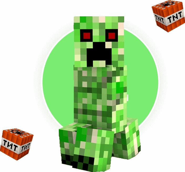 Zielony potwór z Minecraft, który bawi na urodzinach